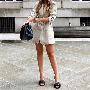 Zara Beige Oversized Linen Blazer XS